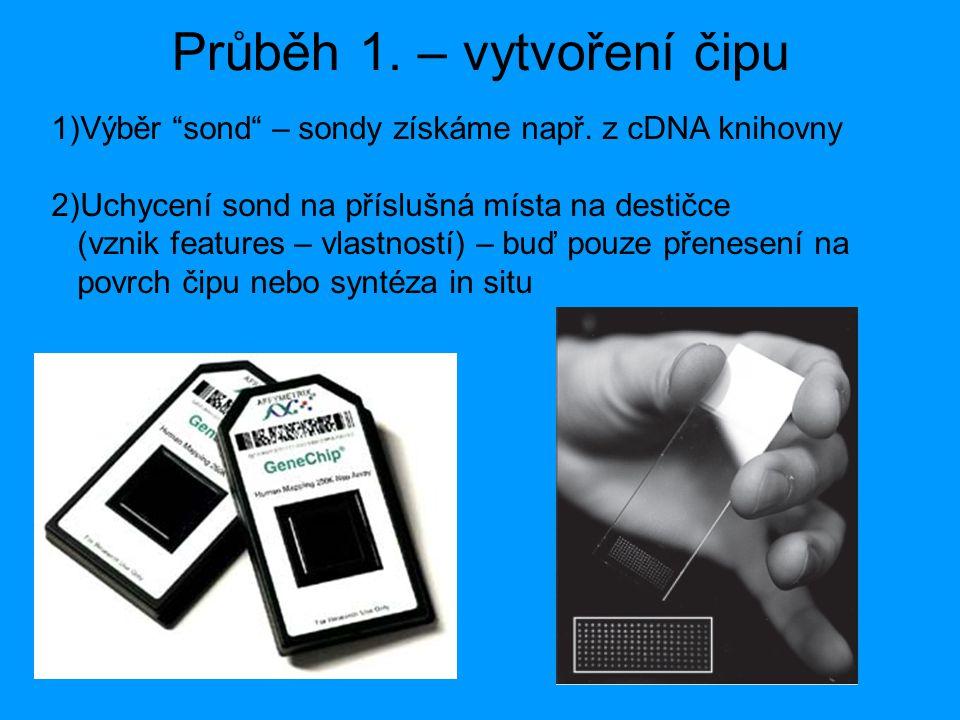 """Průběh 1. – vytvoření čipu 1)Výběr """"sond"""" – sondy získáme např. z cDNA knihovny 2)Uchycení sond na příslušná místa na destičce (vznik features – vlast"""