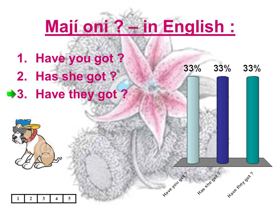 Mají oni ? – in English : 1.Have you got ? 2.Has she got ? 3.Have they got ? 12345