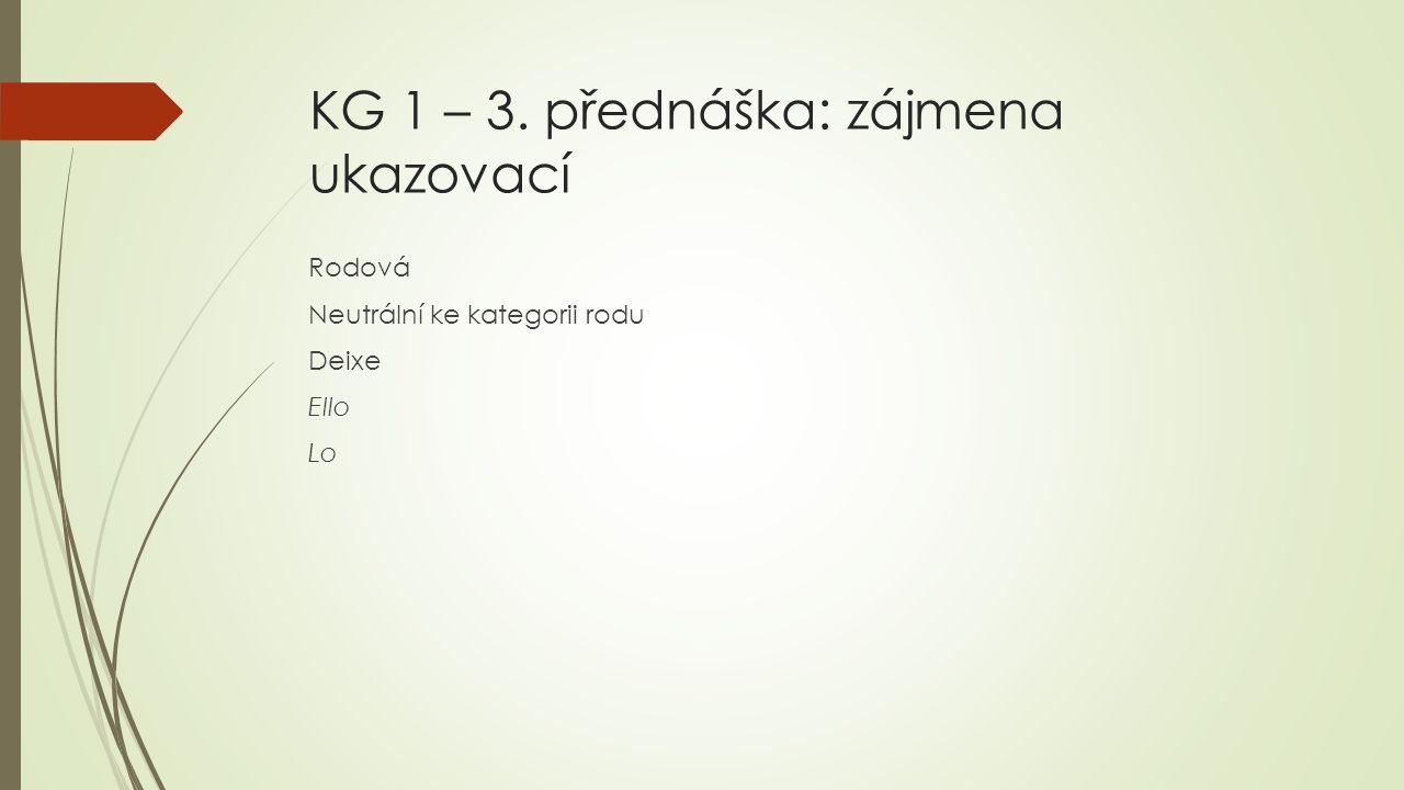 KG 1 – 3. přednáška: zájmena ukazovací Rodová Neutrální ke kategorii rodu Deixe Ello Lo