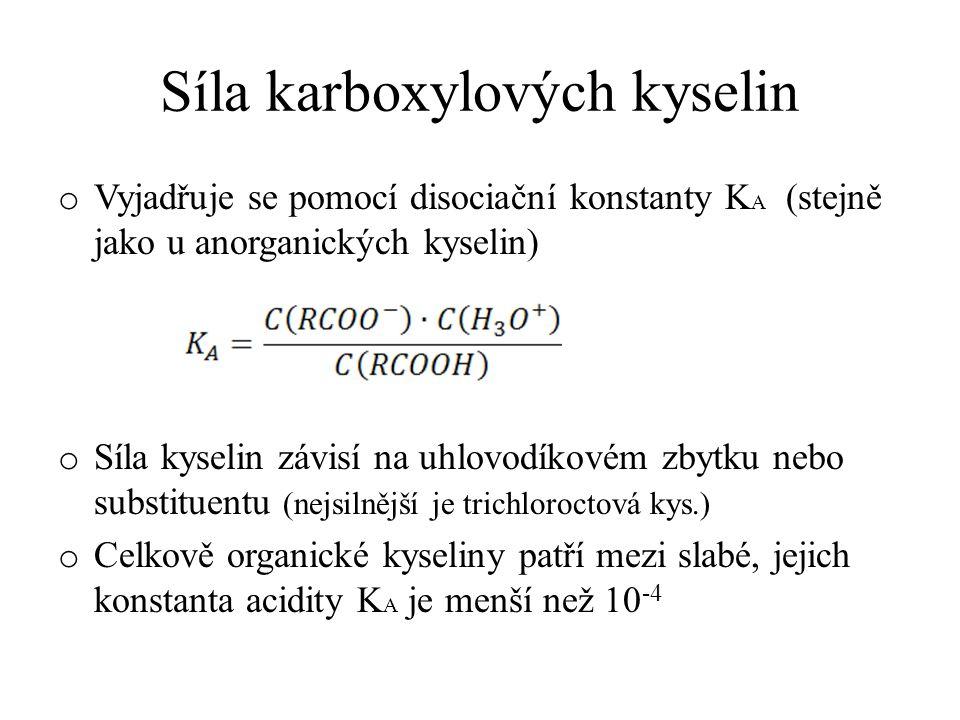 Síla karboxylových kyselin o Vyjadřuje se pomocí disociační konstanty K A (stejně jako u anorganických kyselin) o Síla kyselin závisí na uhlovodíkovém