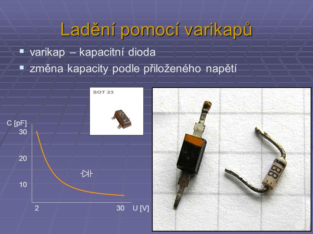 Ladění pomocí varikapů  varikap – kapacitní dioda  změna kapacity podle přiloženého napětí 2 30 U [V] C [pF] 30 20 10