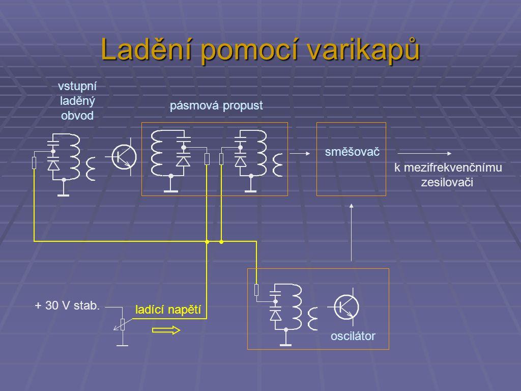 Ladění pomocí varikapů oscilátor směšovač k mezifrekvenčnímu zesilovači + 30 V stab.