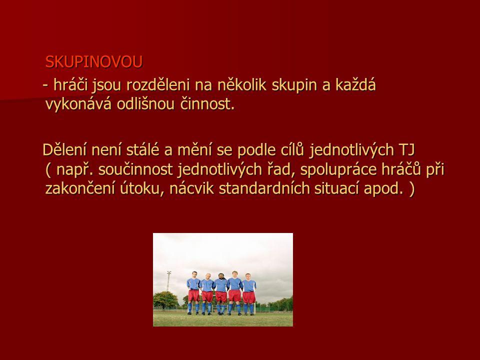 SKUPINOVOU - hráči jsou rozděleni na několik skupin a každá vykonává odlišnou činnost. - hráči jsou rozděleni na několik skupin a každá vykonává odliš