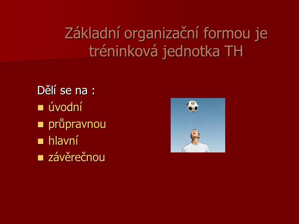Základní organizační formou je tréninková jednotka TH Dělí se na : úvodní úvodní průpravnou průpravnou hlavní hlavní závěrečnou závěrečnou