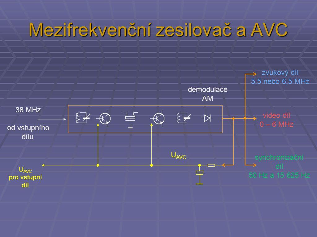 Mezifrekvenční zesilovač a AVC 38 MHz od vstupního dílu U AVC zvukový díl 5,5 nebo 6,5 MHz video díl 0 – 6 MHz synchronizační díl 50 Hz a 15 625 Hz U