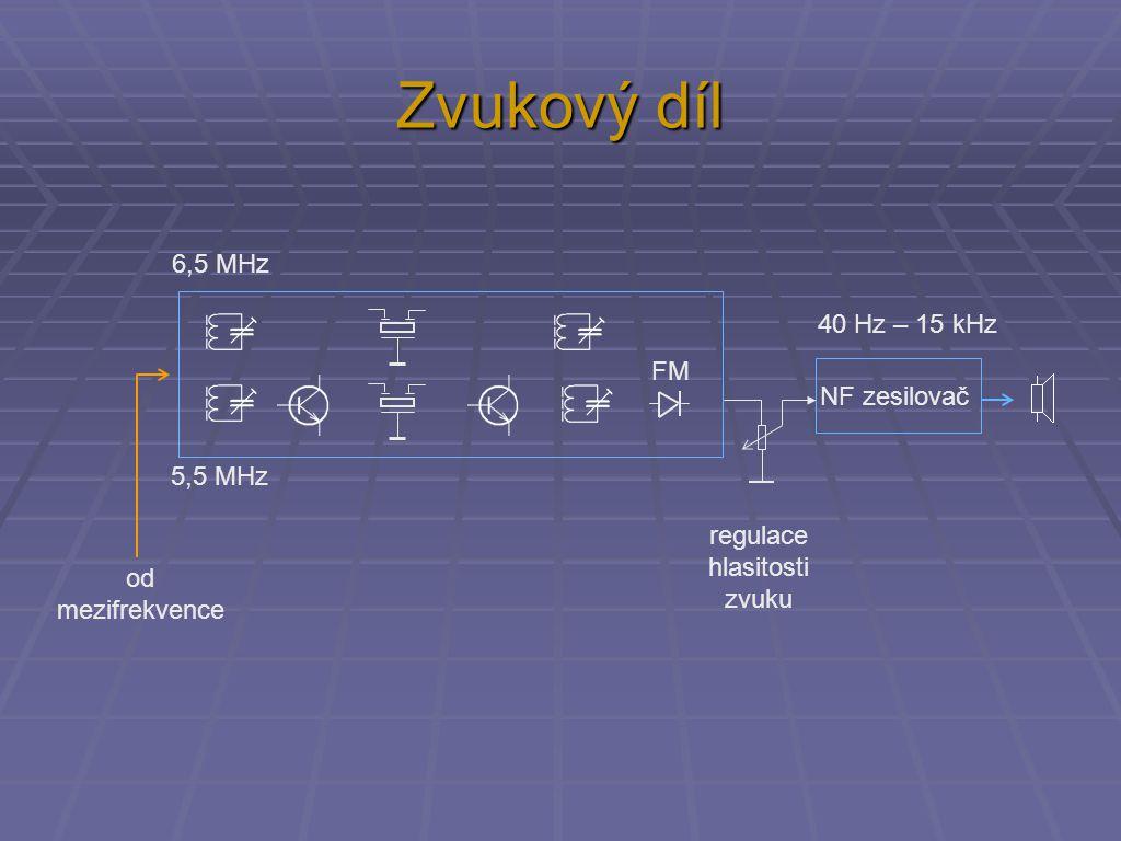 Zvukový díl NF zesilovač 5,5 MHz 6,5 MHz FM 40 Hz – 15 kHz od mezifrekvence regulace hlasitosti zvuku