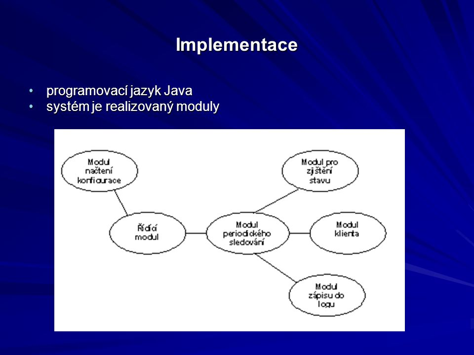 Implementace programovací jazyk Javaprogramovací jazyk Java systém je realizovaný modulysystém je realizovaný moduly