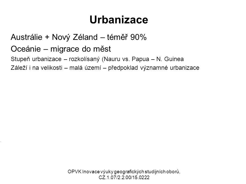 Urbanizace Austrálie + Nový Zéland – téměř 90% Oceánie – migrace do měst Stupeň urbanizace – rozkolísaný (Nauru vs. Papua – N. Guinea Záleží i na veli