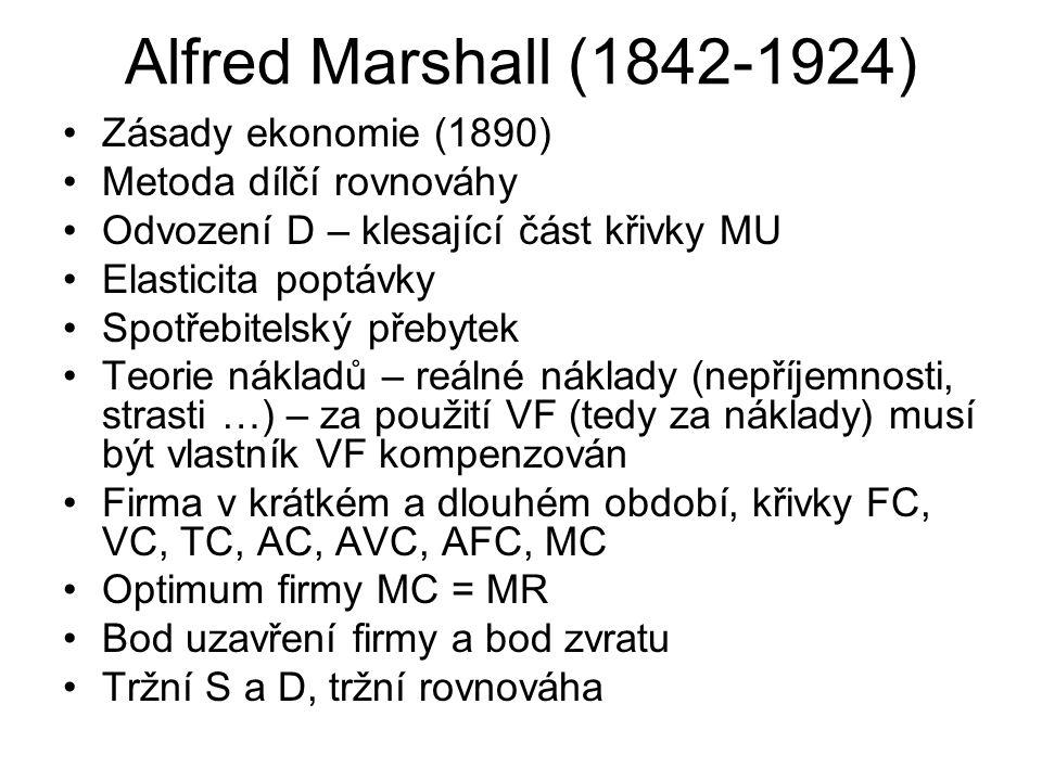 Alfred Marshall (1842-1924) Zásady ekonomie (1890) Metoda dílčí rovnováhy Odvození D – klesající část křivky MU Elasticita poptávky Spotřebitelský pře