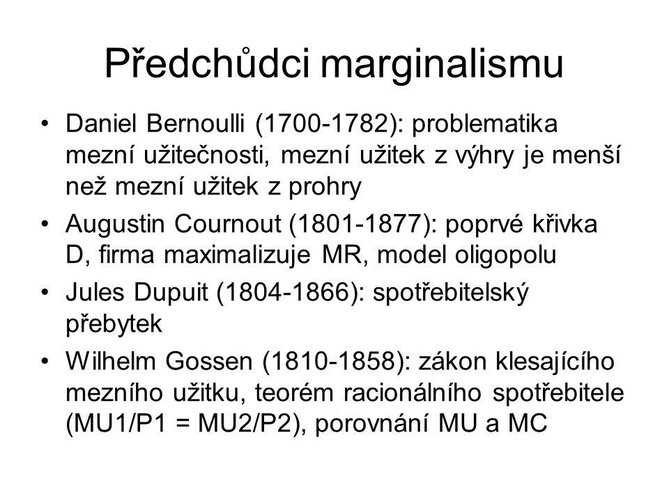 William Jevons (1835-82) Klíčový představitel marginalismu Neměl bezprostředně pokračovatele Člověk maximalizuje slasti (MU), minimalizuje strasti (MC) Hodnota záleží na MU MU jako derivace TU