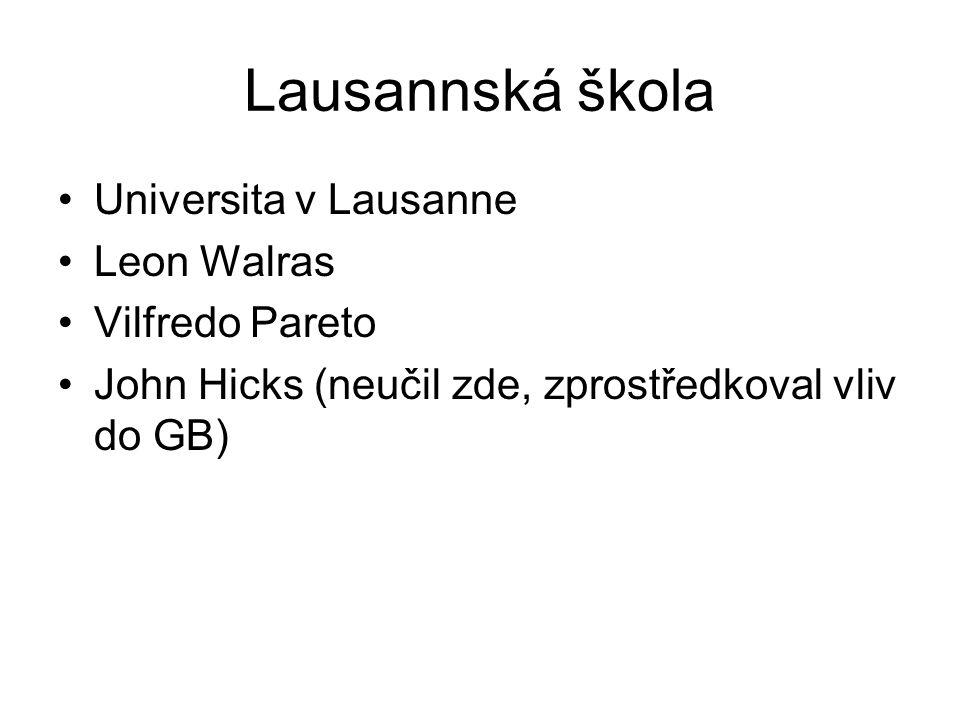 Lausannská škola Universita v Lausanne Leon Walras Vilfredo Pareto John Hicks (neučil zde, zprostředkoval vliv do GB)