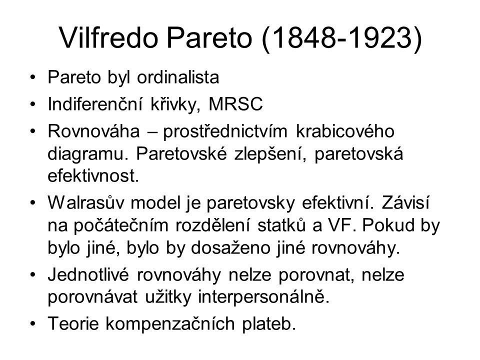 Vilfredo Pareto (1848-1923) Pareto byl ordinalista Indiferenční křivky, MRSC Rovnováha – prostřednictvím krabicového diagramu. Paretovské zlepšení, pa