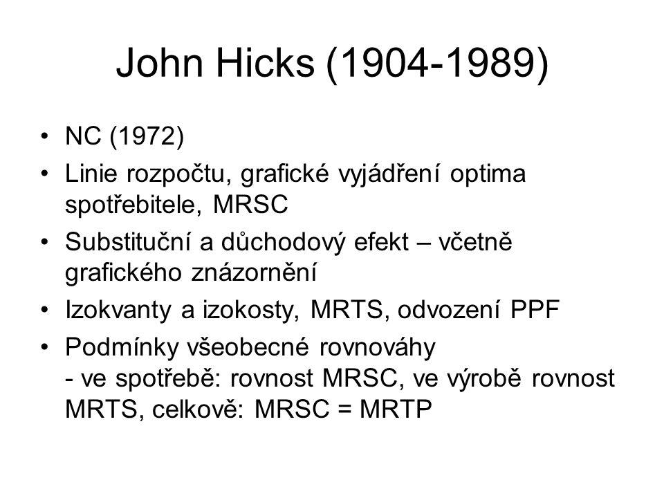 John Hicks (1904-1989) NC (1972) Linie rozpočtu, grafické vyjádření optima spotřebitele, MRSC Substituční a důchodový efekt – včetně grafického znázor