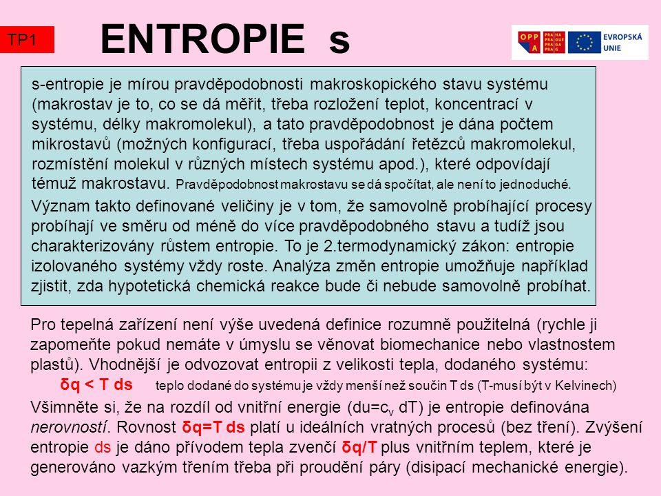 ENTROPIE s s-entropie je mírou pravděpodobnosti makroskopického stavu systému (makrostav je to, co se dá měřit, třeba rozložení teplot, koncentrací v systému, délky makromolekul), a tato pravděpodobnost je dána počtem mikrostavů (možných konfigurací, třeba uspořádání řetězců makromolekul, rozmístění molekul v různých místech systému apod.), které odpovídají témuž makrostavu.