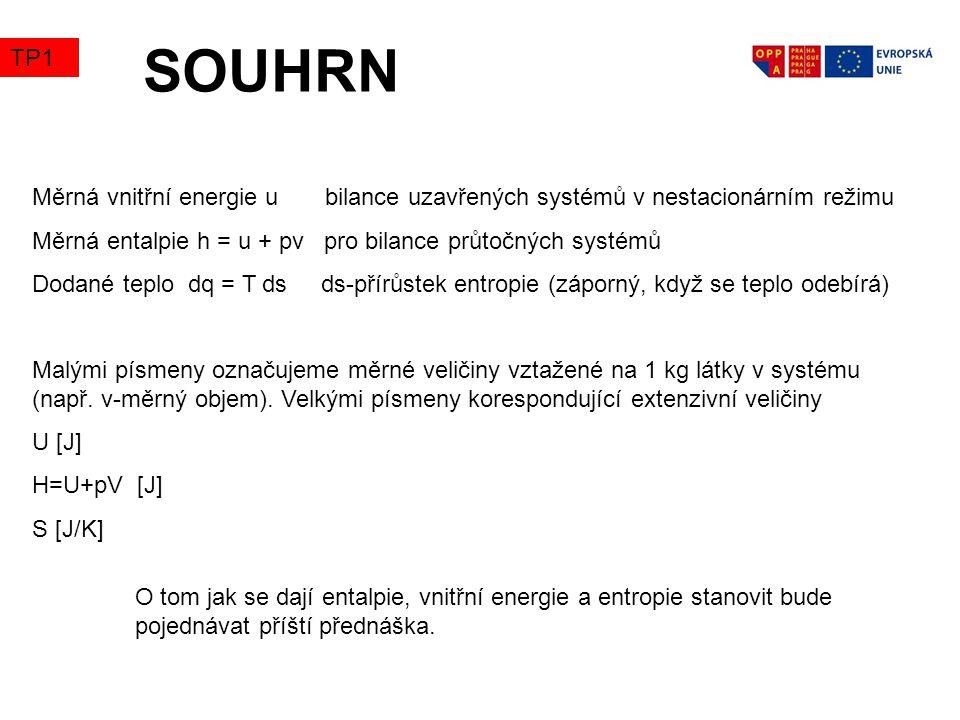 SOUHRN Měrná vnitřní energie u bilance uzavřených systémů v nestacionárním režimu Měrná entalpie h = u + pv pro bilance průtočných systémů Dodané teplo dq = T ds ds-přírůstek entropie (záporný, když se teplo odebírá) Malými písmeny označujeme měrné veličiny vztažené na 1 kg látky v systému (např.