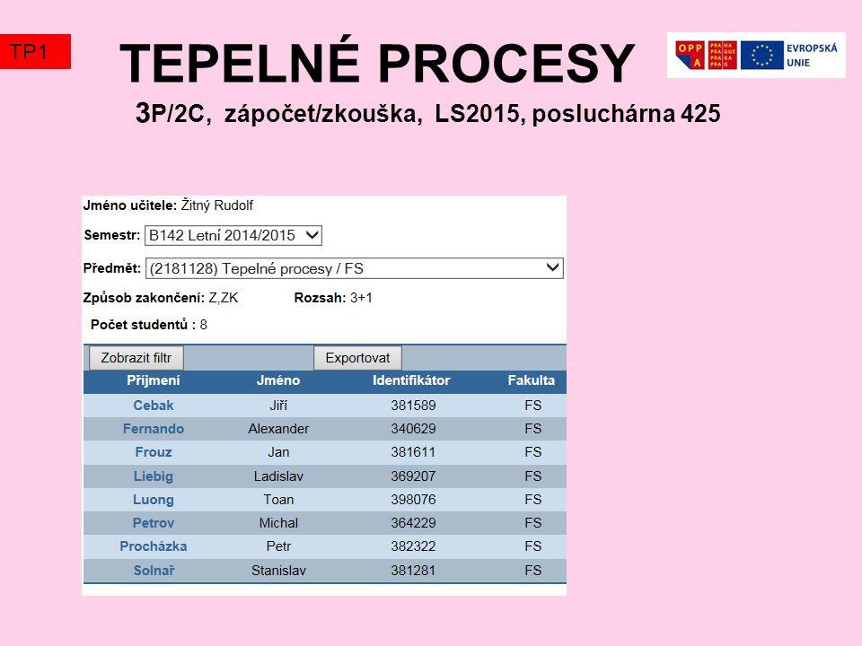 TEPELNÉ PROCESY 3 P/2C, zápočet/zkouška, LS2015, posluchárna 425 TP1
