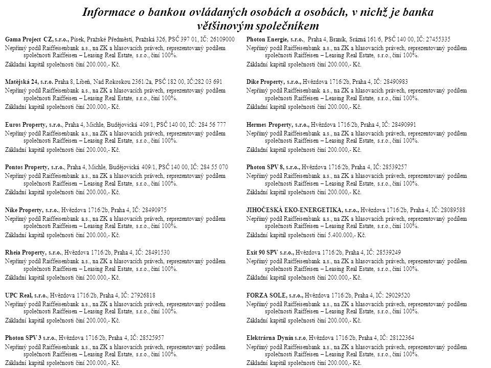 Informace o bankou ovládaných osobách a osobách, v nichž je banka většinovým společníkem Gama Project CZ, s.r.o., Písek, Pražské Předměstí, Pražská 32