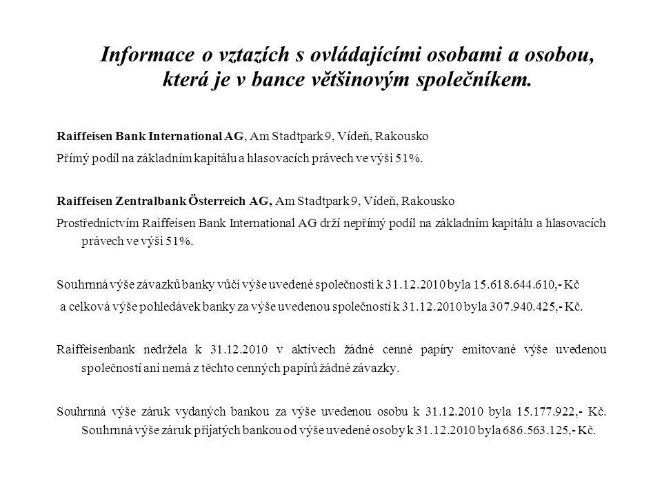 Informace o vztazích s ovládajícími osobami a osobou, která je v bance většinovým společníkem. Raiffeisen Bank International AG, Am Stadtpark 9, Vídeň