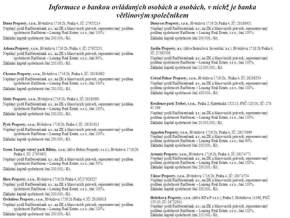 Informace o bankou ovládaných osobách a osobách, v nichž je banka většinovým společníkem Gama Project CZ, s.r.o., Písek, Pražské Předměstí, Pražská 326, PSČ 397 01, IČ: 26109000 Nepřímý podíl Raiffeisenbank a.s., na ZK a hlasovacích právech, reprezentovaný podílem společnosti Raiffeisen – Leasing Real Estate, s.r.o., činí 100%.