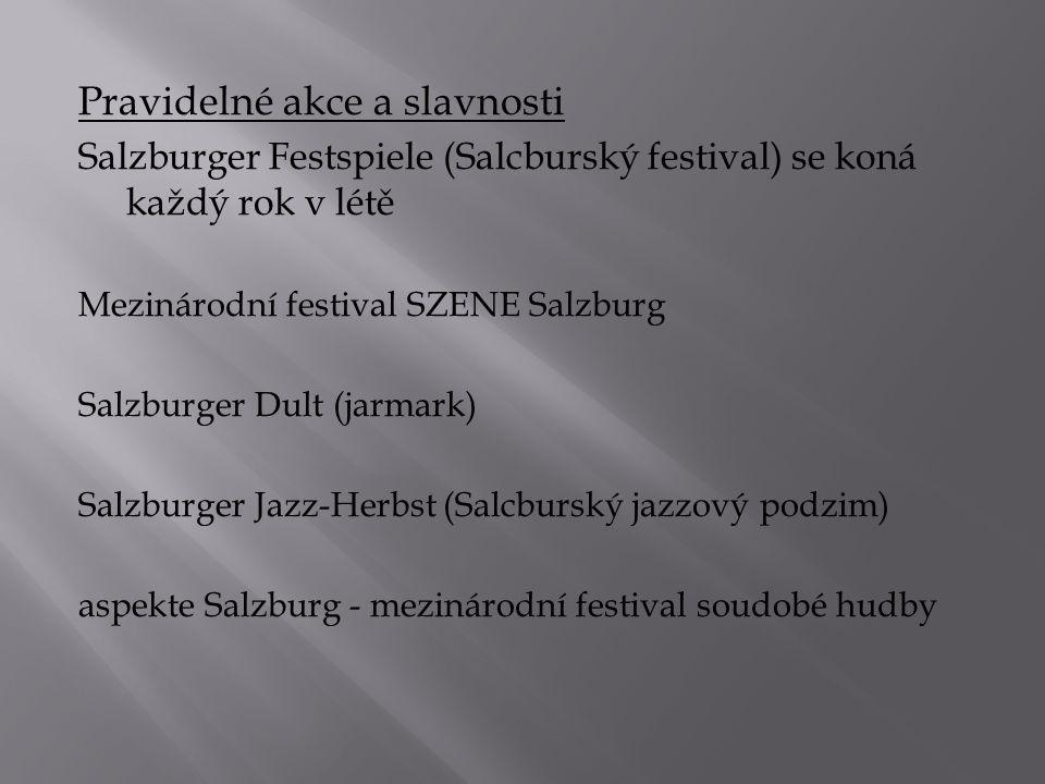 Pravidelné akce a slavnosti Salzburger Festspiele (Salcburský festival) se koná každý rok v létě Mezinárodní festival SZENE Salzburg Salzburger Dult (jarmark) Salzburger Jazz-Herbst (Salcburský jazzový podzim) aspekte Salzburg - mezinárodní festival soudobé hudby