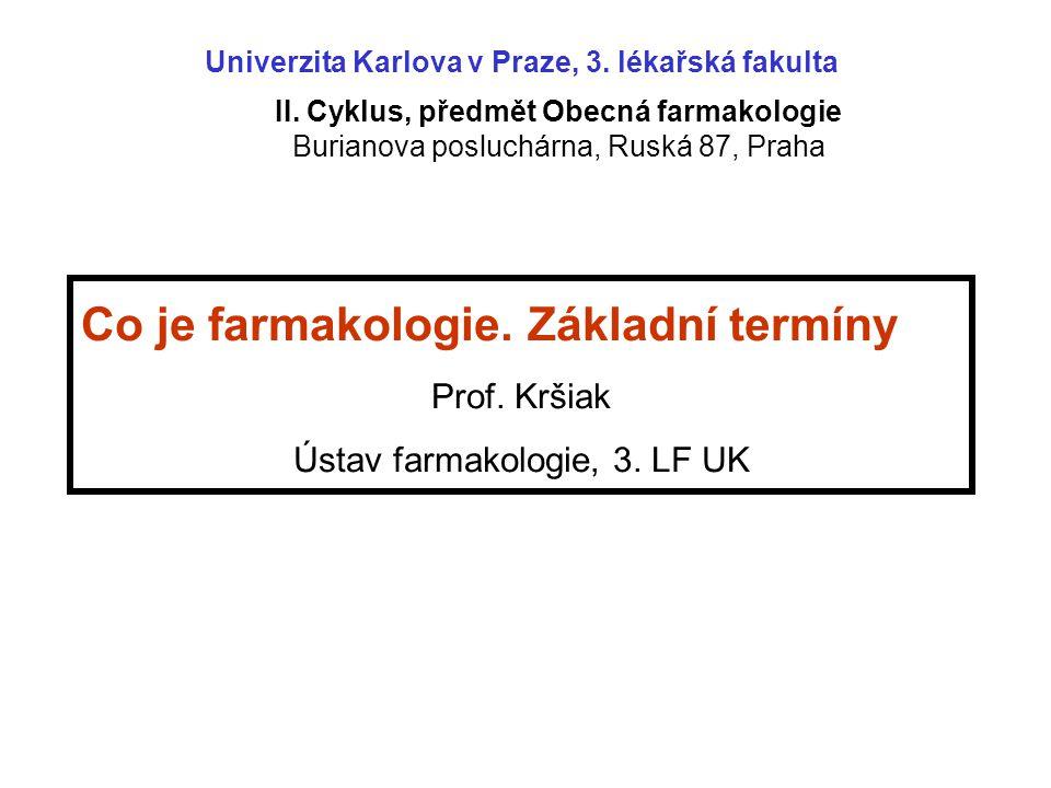 Co je farmakologie. Základní termíny Prof. Kršiak Ústav farmakologie, 3. LF UK II. Cyklus, předmět Obecná farmakologie Burianova posluchárna, Ruská 87