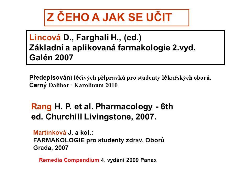 Z ČEHO A JAK SE UČIT Lincová D., Farghali H., (ed.) Základní a aplikovaná farmakologie 2.vyd. Galén 2007 Martínková J. a kol.: FARMAKOLOGIE pro studen
