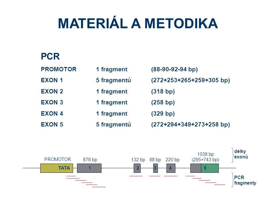 MATERIÁL A METODIKA PCR PROMOTOR1 fragment(88-90-92-94 bp) EXON 15 fragmentů(272+253+265+259+305 bp) EXON 21 fragment (318 bp) EXON 31 fragment (258 bp) EXON 41 fragment (329 bp) EXON 55 fragmentů(272+294+349+273+258 bp) 132 bp878 bp88 bp220 bp 1038 bp (295+743 bp) PROMOTOR 12345TATA délky exonů PCR fragmenty