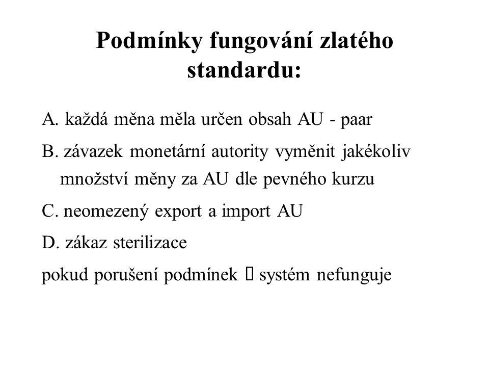 Podmínky fungování zlatého standardu: A.každá měna měla určen obsah AU - paar B.