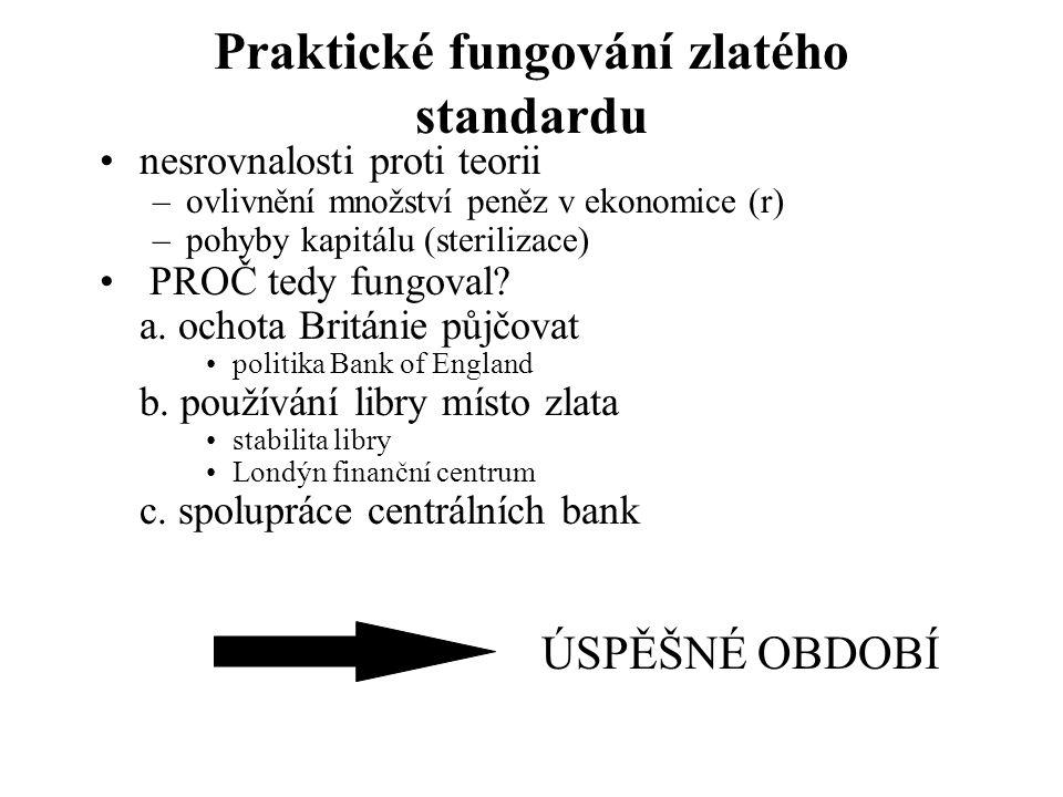 Praktické fungování zlatého standardu nesrovnalosti proti teorii –ovlivnění množství peněz v ekonomice (r) –pohyby kapitálu (sterilizace) PROČ tedy fungoval.