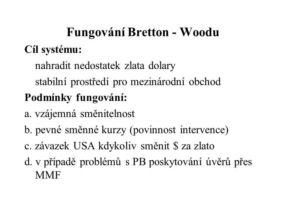 Fungování Bretton - Woodu Cíl systému: nahradit nedostatek zlata dolary stabilní prostředí pro mezinárodní obchod Podmínky fungování: a.