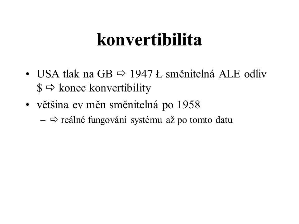 konvertibilita USA tlak na GB  1947 Ł směnitelná ALE odliv $  konec konvertibility většina ev měn směnitelná po 1958 –  reálné fungování systému až po tomto datu
