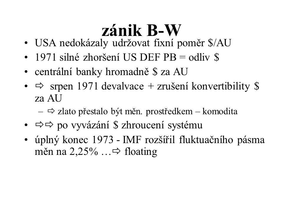 zánik B-W USA nedokázaly udržovat fixní poměr $/AU 1971 silné zhoršení US DEF PB = odliv $ centrální banky hromadně $ za AU  srpen 1971 devalvace + zrušení konvertibility $ za AU –  zlato přestalo být měn.
