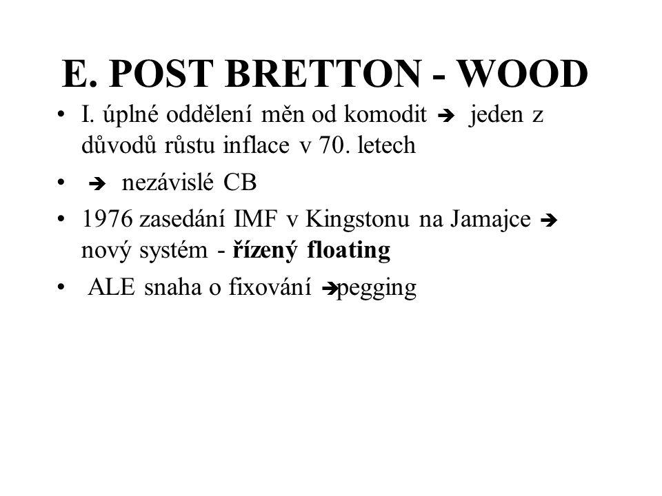 E.POST BRETTON - WOOD I. úplné oddělení měn od komodit è jeden z důvodů růstu inflace v 70.
