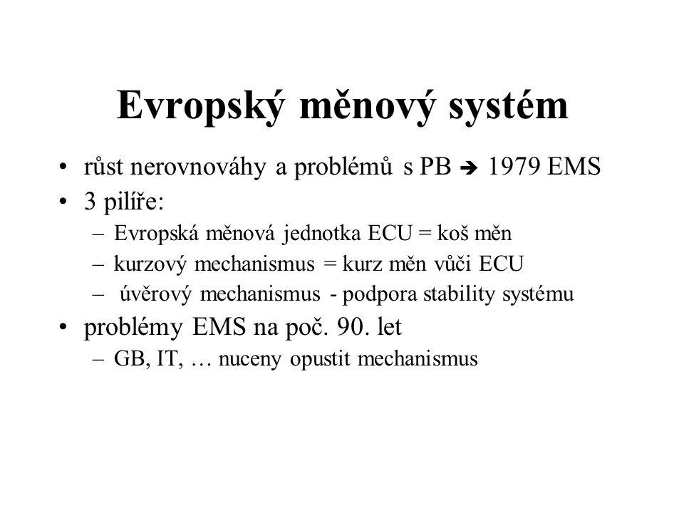 Evropský měnový systém růst nerovnováhy a problémů s PB è 1979 EMS 3 pilíře: –Evropská měnová jednotka ECU = koš měn –kurzový mechanismus = kurz měn vůči ECU – úvěrový mechanismus - podpora stability systému problémy EMS na poč.