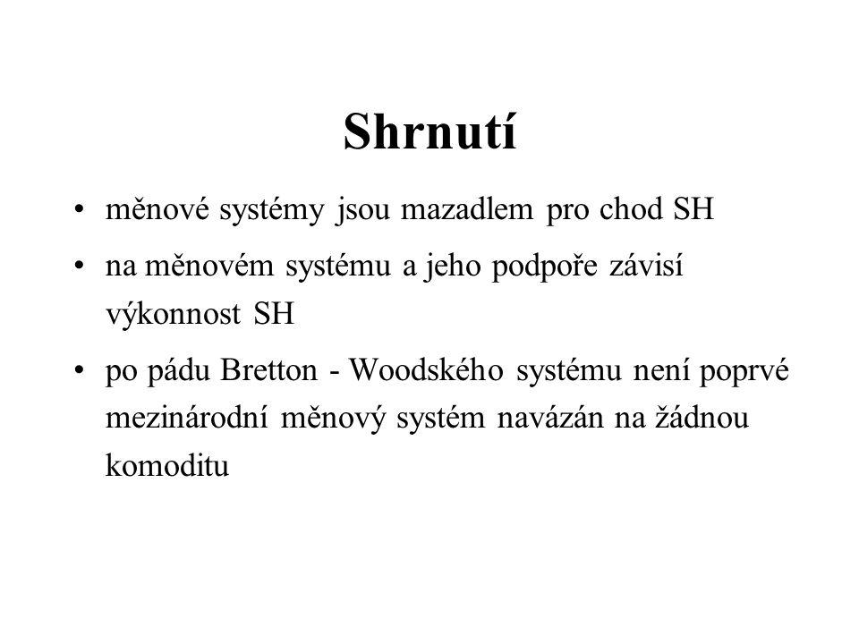 Shrnutí měnové systémy jsou mazadlem pro chod SH na měnovém systému a jeho podpoře závisí výkonnost SH po pádu Bretton - Woodského systému není poprvé mezinárodní měnový systém navázán na žádnou komoditu
