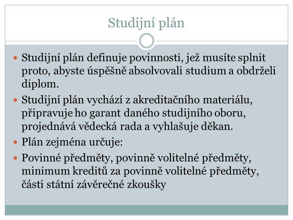 Studijní plán Studijní plán definuje povinnosti, jež musíte splnit proto, abyste úspěšně absolvovali studium a obdrželi diplom. Studijní plán vychází