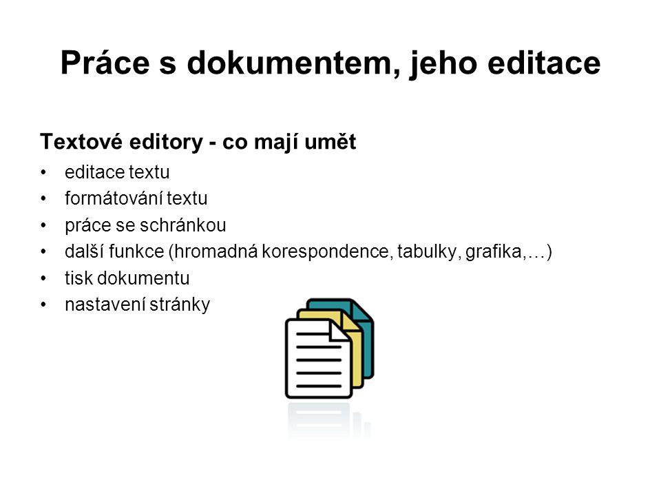 Práce s dokumentem, jeho editace Textové editory - co mají umět editace textu formátování textu práce se schránkou další funkce (hromadná korespondence, tabulky, grafika,…) tisk dokumentu nastavení stránky