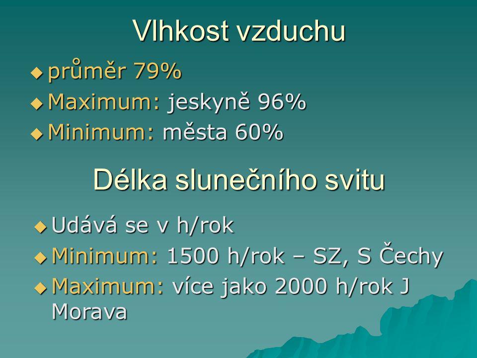 Vlhkost vzduchu  průměr 79%  Maximum: jeskyně 96%  Minimum: města 60% Délka slunečního svitu  Udává se v h/rok  Minimum: 1500 h/rok – SZ, S Čechy
