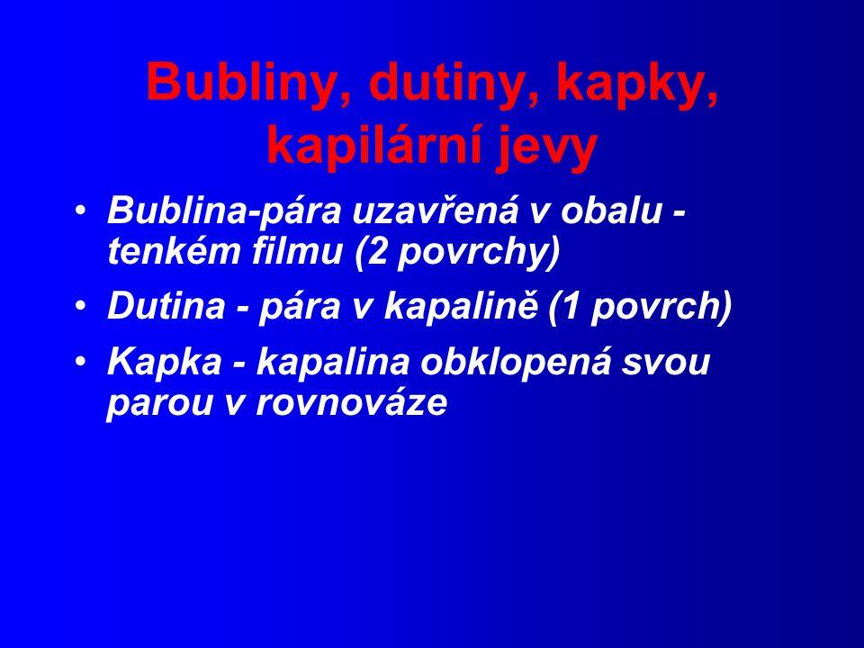 Bubliny, dutiny, kapky, kapilární jevy Bublina-pára uzavřená v obalu - tenkém filmu (2 povrchy) Dutina - pára v kapalině (1 povrch) Kapka - kapalina obklopená svou parou v rovnováze