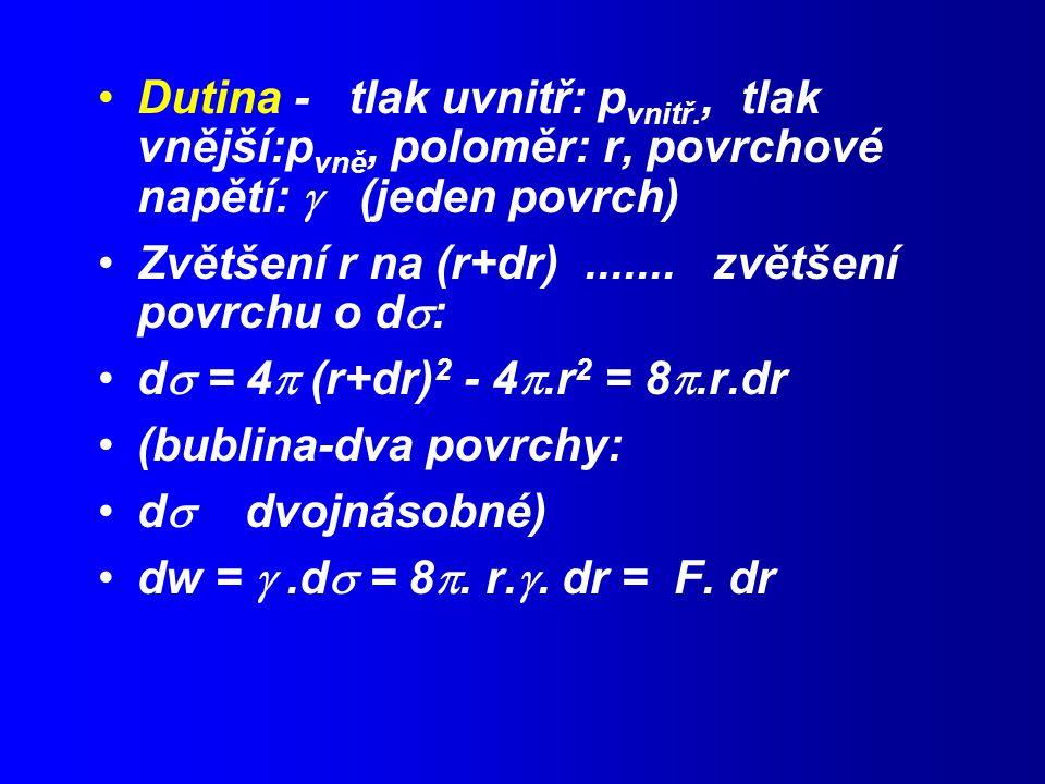 Dutina - tlak uvnitř: p vnitř., tlak vnější:p vně, poloměr: r, povrchové napětí:  (jeden povrch) Zvětšení r na (r+dr).......
