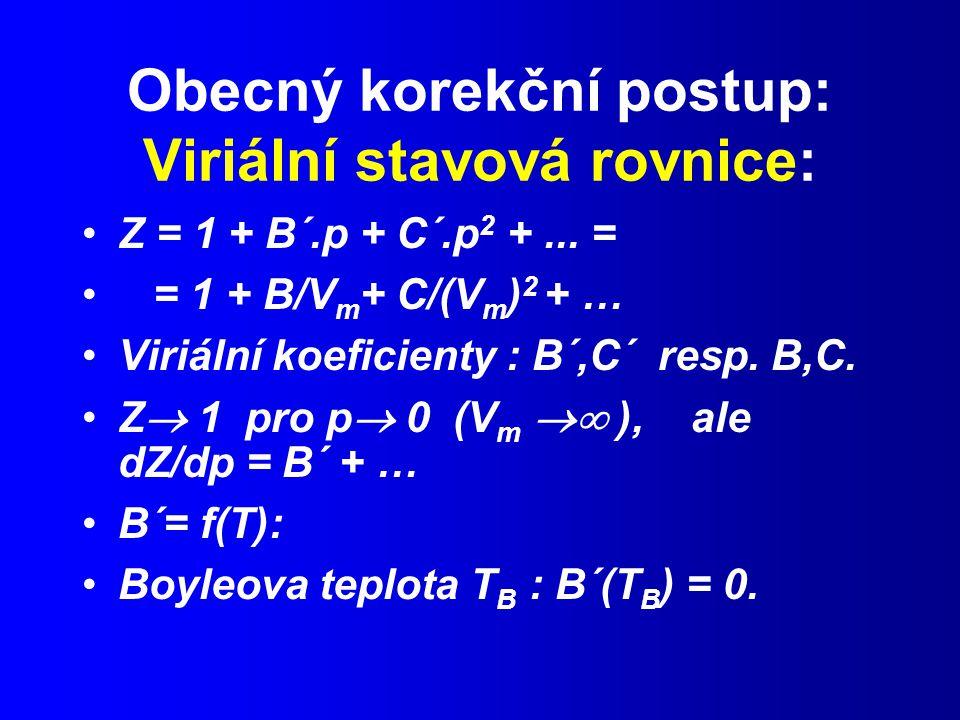 Obecný korekční postup: Viriální stavová rovnice: Z = 1 + B´.p + C´.p 2 +...