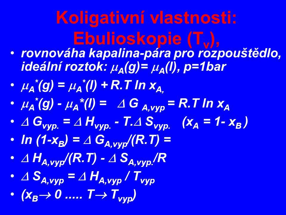 Koligativní vlastnosti: Ebulioskopie (T v ), rovnováha kapalina-pára pro rozpouštědlo, ideální roztok:  A (g)=  A (l), p=1bar  A * (g) =  A * (l) + R.T ln x A,  A * (g) -  A *(l) =  G A,vyp = R.T ln x A  G vyp.