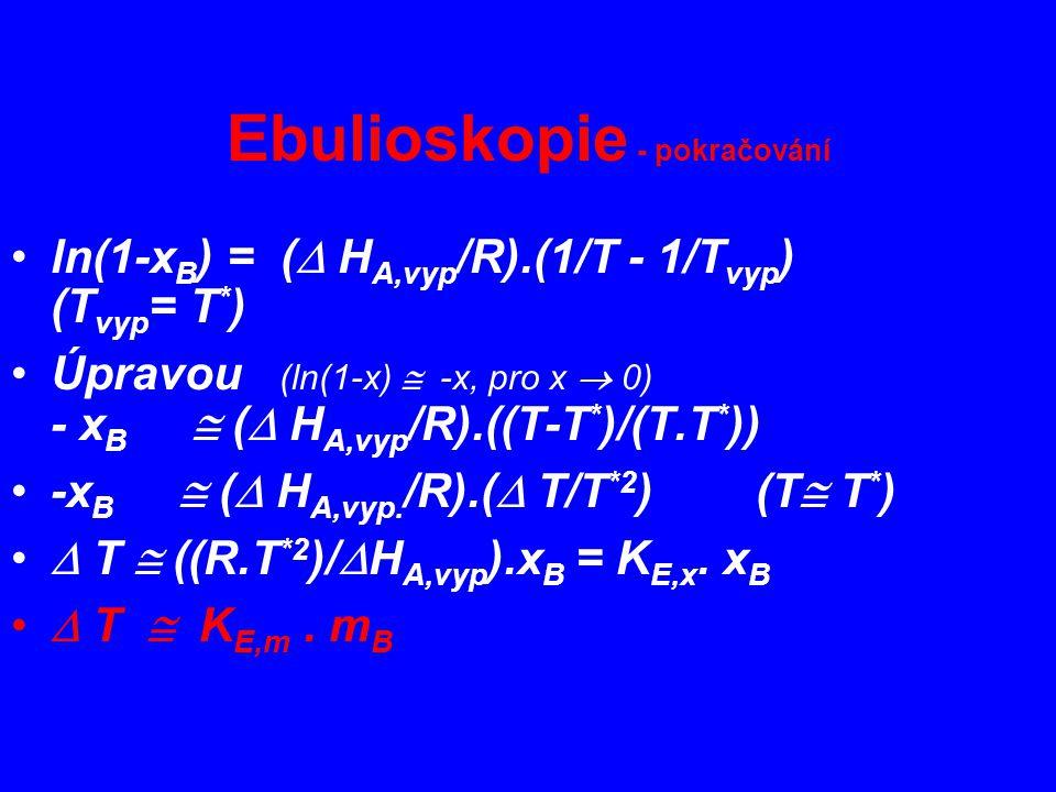 Ebulioskopie - pokračování ln(1-x B ) = (  H A,vyp /R).(1/T - 1/T vyp ) (T vyp = T * ) Úpravou (ln(1-x)  -x, pro x  0) - x B  (  H A,vyp /R).((T-T * )/(T.T * )) -x B  (  H A,vyp.