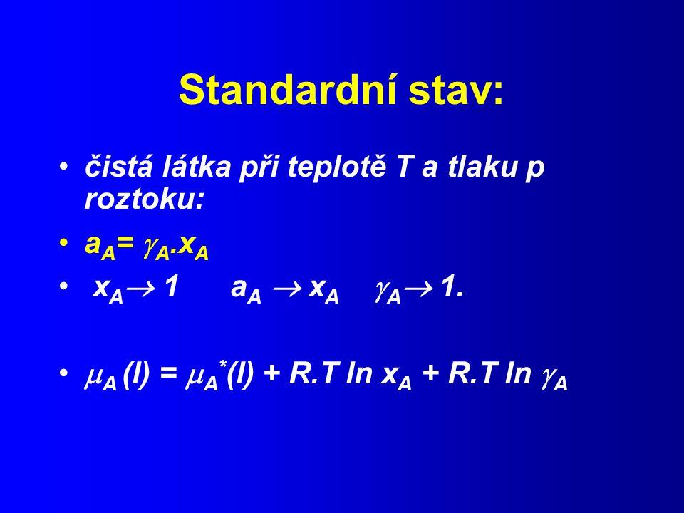 Standardní stav: čistá látka při teplotě T a tlaku p roztoku: a A =  A.x A x A  1 a A  x A  A  1.