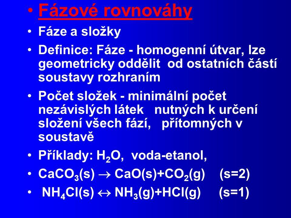 Fázové rovnováhy Fáze a složky Definice: Fáze - homogenní útvar, lze geometricky oddělit od ostatních částí soustavy rozhraním Počet složek - minimální počet nezávislých látek nutných k určení složení všech fází, přítomných v soustavě Příklady: H 2 O, voda-etanol, CaCO 3 (s)  CaO(s)+CO 2 (g) (s=2) NH 4 Cl(s)  NH 3 (g)+HCl(g) (s=1)