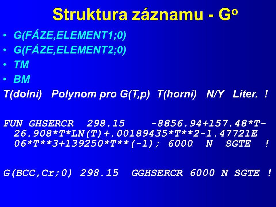Struktura záznamu - G o G(FÁZE,ELEMENT1;0) G(FÁZE,ELEMENT2;0) TM BM T(dolní) Polynom pro G(T,p) T(horní) N/Y Liter.