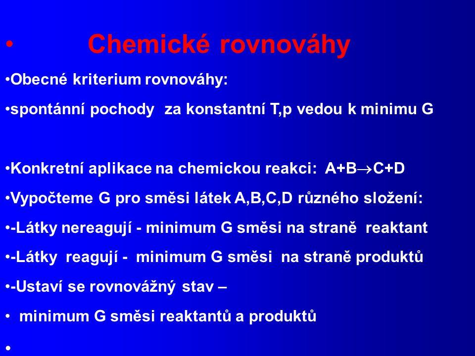 Chemické rovnováhy Obecné kriterium rovnováhy: spontánní pochody za konstantní T,p vedou k minimu G Konkretní aplikace na chemickou reakci: A+B  C+D Vypočteme G pro směsi látek A,B,C,D různého složení: -Látky nereagují - minimum G směsi na straně reaktant -Látky reagují - minimum G směsi na straně produktů -Ustaví se rovnovážný stav – minimum G směsi reaktantů a produktů