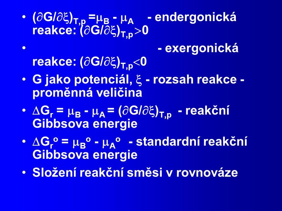 (  G/  ) T,p =  B -  A - endergonická reakce: (  G/  ) T,p  0 - exergonická reakce: (  G/  ) T,p  0 G jako potenciál,  - rozsah reakce - proměnná veličina  G r =  B -  A = (  G/  ) T,p - reakční Gibbsova energie  G r o =  B o -  A o - standardní reakční Gibbsova energie Složení reakční směsi v rovnováze