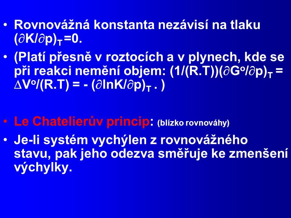 Rovnovážná konstanta nezávisí na tlaku (  K/  p) T =0.