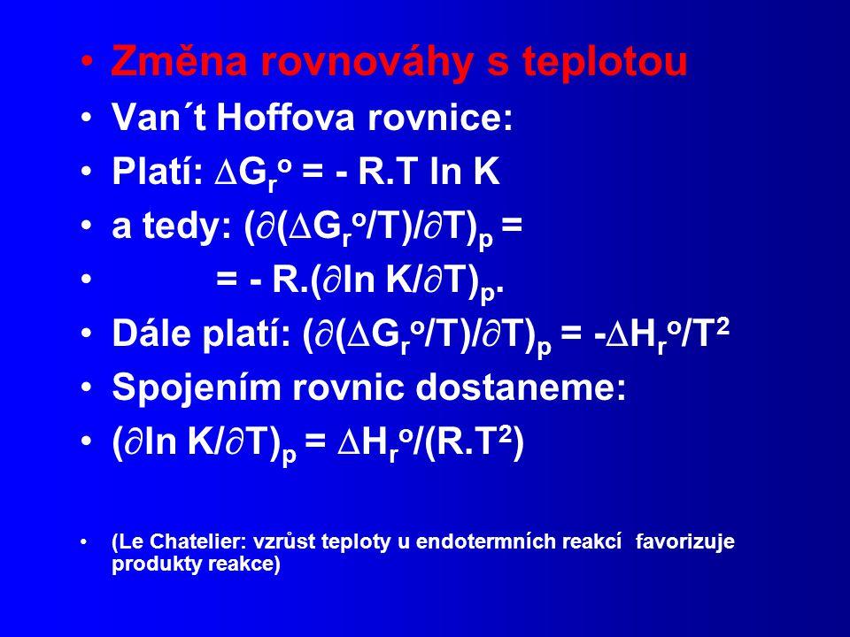 Změna rovnováhy s teplotou Van´t Hoffova rovnice: Platí:  G r o = - R.T ln K a tedy: (  (  G r o /T)/  T) p = = - R.(  ln K/  T) p.
